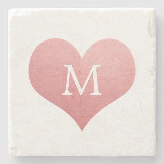 Dessous-de-verre En Pierre Monogramme lunatique de mariage de coeur de rose