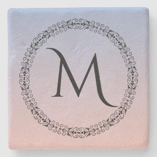 Dessous-de-verre En Pierre Monogramme rose bleu d'Ombre de quartz rose de