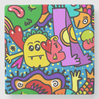 Dessous-de-verre En Pierre Monstres colorés intelligents de bande dessinée