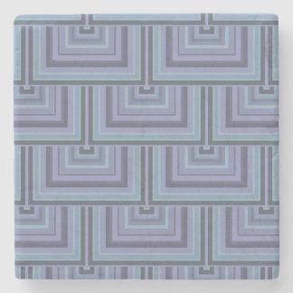 Dessous-de-verre En Pierre motif Bleu-gris d'échelles de carré de rayures