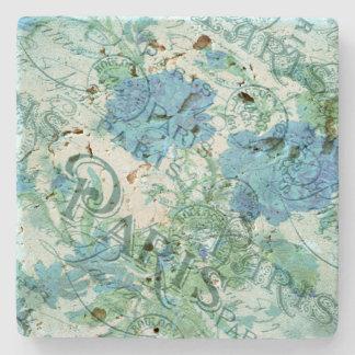 Dessous-de-verre En Pierre Motif floral bleu vintage de cachet de la poste de