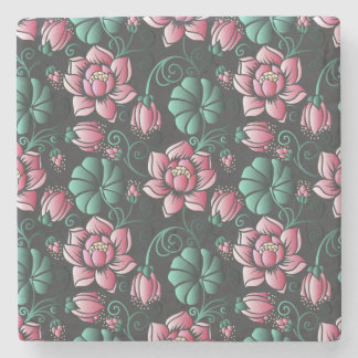 Dessous-de-verre En Pierre Motif floral élégant de motif rose de Lotus