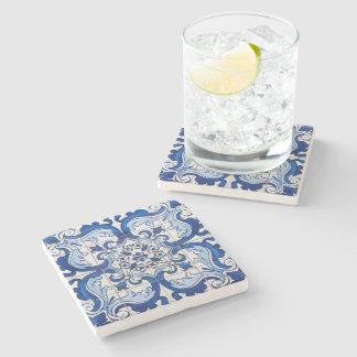 Dessous-de-verre En Pierre Motif floral portugais d'Azulejo