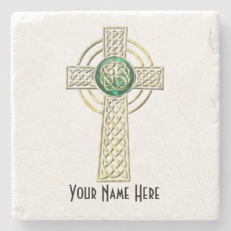 Dessous-de-verre En Pierre Or et dessous de verre verts de marbre de croix