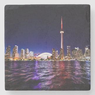 Dessous-de-verre En Pierre Paysage urbain du centre de Toronto Canada la nuit