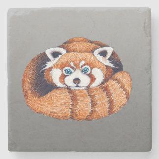 Dessous-de-verre En Pierre Petit panda rouge sur le gris