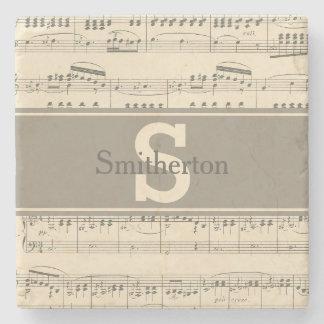 Dessous-de-verre En Pierre Pierre antique vintage de monogramme de musique de