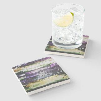 Dessous-de-verre En Pierre Pourpre abstrait, vert, blanc, dessous de verre en