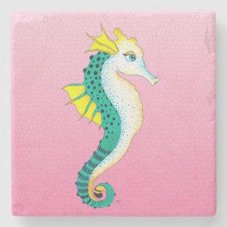 Dessous-de-verre En Pierre rose turquoise d'hippocampe