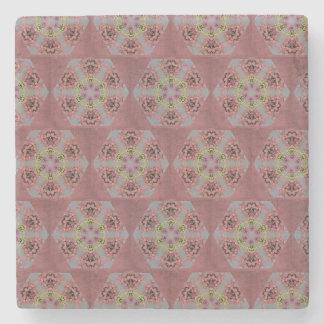 Dessous-de-verre En Pierre roses de motif de kaléidoscope, roses et jaunes