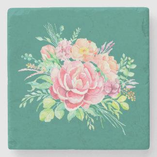 Dessous-de-verre En Pierre Roses floraux vintages de bouquet d'aquarelle sur