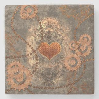 Dessous-de-verre En Pierre Steampunk, coeur merveilleux fait de métal rouillé