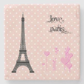Dessous-de-verre En Pierre Tour Eiffel, coeurs, pois - rose noir