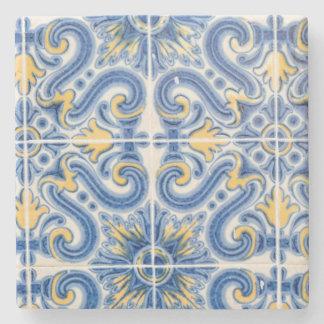 Dessous-de-verre En Pierre Tuile bleue et jaune, Portugal