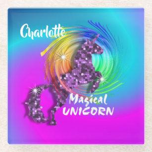 Dessous-de-verre En Verre Unicorn Rainbow Cute Girly Personnalisée