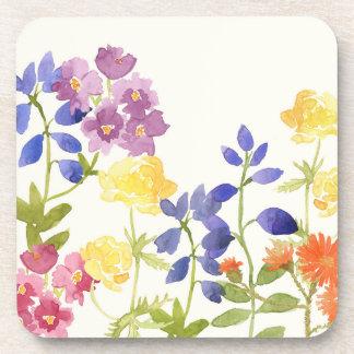 Dessous-de-verre Ensemble coloré floral sauvage pour aquarelle de