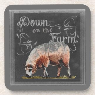 Dessous-de-verre Ferme   de tableau vers le bas sur les moutons de