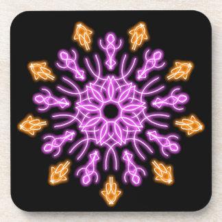 Dessous-de-verre Fleur au néon rose et orange
