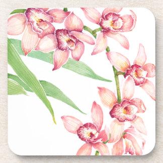 Dessous-de-verre Fleurs roses d'aquarelle