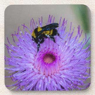 Dessous-de-verre Fleurs sauvages de pollination d'abeille