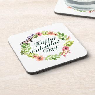 Dessous de verre floraux de guirlande de heureuse