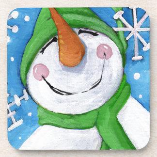 Dessous-de-verre Givré le bonhomme de neige heureux