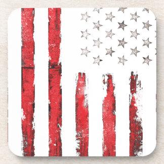 Dessous-de-verre Grunge ROUGE vintage de drapeau américain