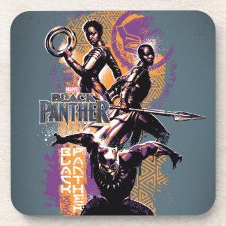 Dessous-de-verre Guerriers de la panthère noire | Wakandan peints