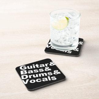 Dessous-de-verre Guitar&Bass&Drums&Vocals (blanc)