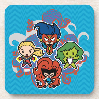 Dessous-de-verre Héroïnes superbes de merveille de Kawaii