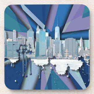 Dessous-de-verre Horizon   3D bleu de New York City