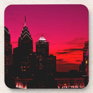 Dessous-de-verre Horizon de coucher du soleil de Philadelphie