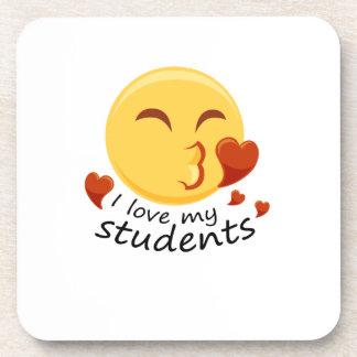 Dessous-de-verre J'aime mon professeur d'étudiants Emoji Funnys