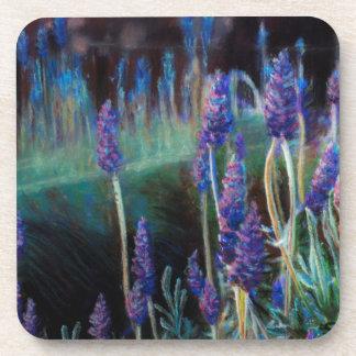 Dessous-de-verre Jardin par l'étang au crépuscule