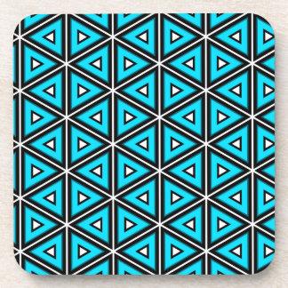 Dessous-de-verre Jolis blanc, noir et motif carrés de turquoise