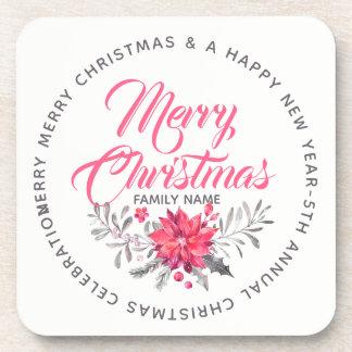 Dessous-de-verre Joyeux modèle de fête de Noël de typographie