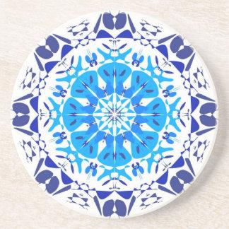 Dessous de verre Kaleïdoscope - Bleu fond Blanc