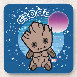 Dessous-de-verre Kawaii Groot dans l'espace
