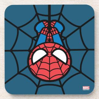 Dessous-de-verre Kawaii Spider-Man accrochant upside-down