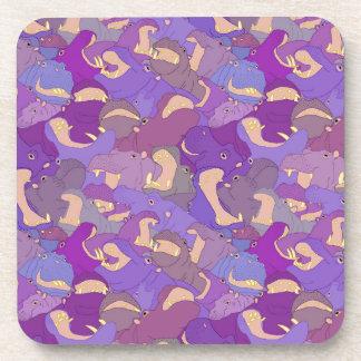 Dessous-de-verre Laughing Hippos - purple