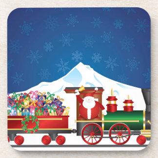 Dessous-de-verre Le père noël sur le train avec des présents sur la