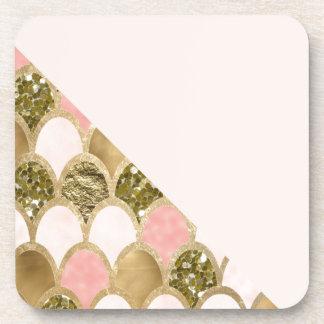Dessous-de-verre Les échelles roses de sirène d'or et rougissent