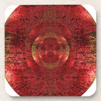 Dessous-de-verre L'or lumineux et le motif 3D orange conçoivent