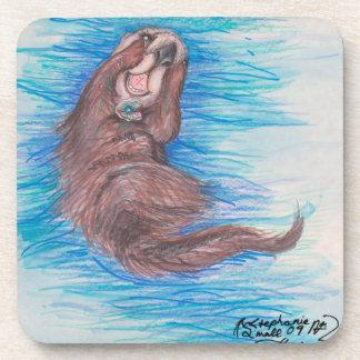 Dessous-de-verre Loutre de mer mignonne nageant beau adorable