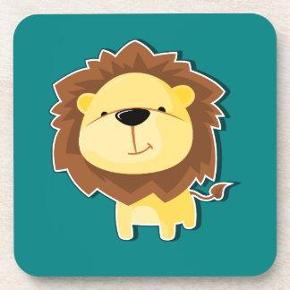 Dessous-de-verre Mâle heureux de lion de bande dessinée avec