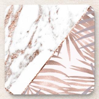 Dessous-de-verre Marbre rose d'or et fougères tropicales