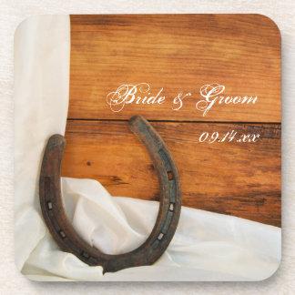 Dessous-de-verre Mariage de grange de pays de fer à cheval et de