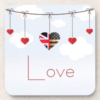 Dessous-de-verre Mariage royal de coeurs américains britanniques