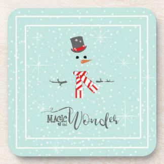 Dessous-de-verre Menthe ID440 de bonhomme de neige de Noël de magie