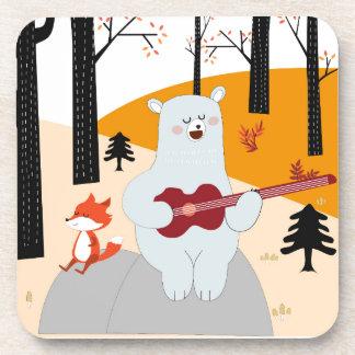 Dessous-de-verre Mignon chantez un loup de renard de chanson d'été
